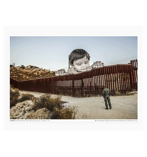 JR - Giants, Kikito and the border patrol, Tecate, Mexico-USA
