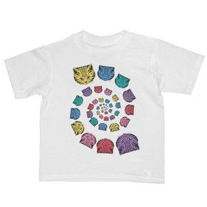 キッズ Tシャツ スパイラルなキャット レインボー White 海外子供服 made in USA