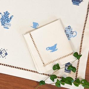 ティーポット刺繍のランチョンマット&ナフキン セット