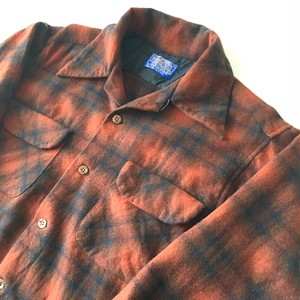 PENDLETON : wool ombre check open collar shirt (used)