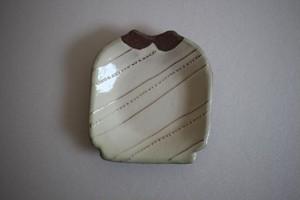海野仁美|シャツ小皿 白 斜めストライプ