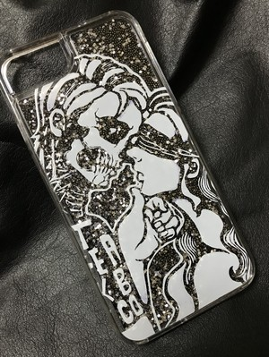 【予約】 iPhone6.6s.7.8 Glitter Case / Skull ( hard type ) / Blk / gm-19ca2