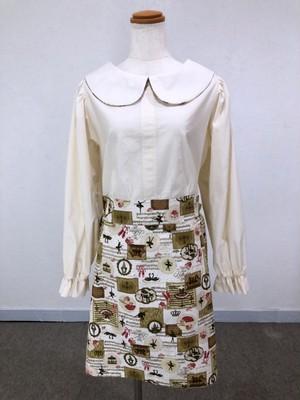 シンプルさが可愛い、長袖のバックリボン丸襟ブラウスワンピース (ビジネスシーンで着たい、上品な生成&ロマンチックバレリーナ) 一点もの コットン100% パフスリーブ 通勤 通学 ひざ丈 ミニ 快適
