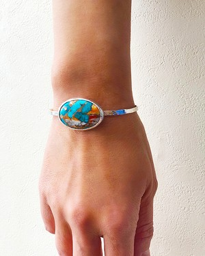 Copper turquoise silver bangle / big