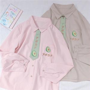 【トップス】日系森ガール清新少女可愛い長袖ネクタイ付きシャツ