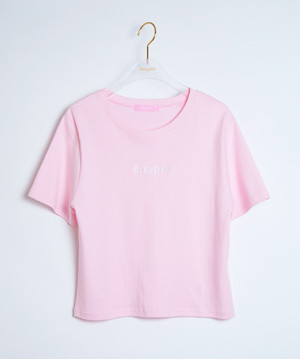 Front Logo Embroidery S/S Tee Pink