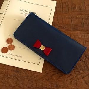 栃木レザーのリボン付き2つ折り長財布 ロングウォレット