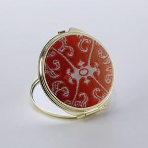錦織コンパクトミラー 龍象金鈎文赤