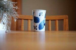 砥部焼/フリーカップ(細)/ブルー木の葉/森陶房