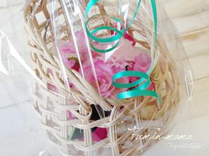 籐 坪型 花かご(ラッピング含む)