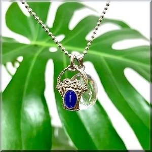 天然石*レムリアン水晶と不思議のメダイ《花籠》のネックレス*オーバル