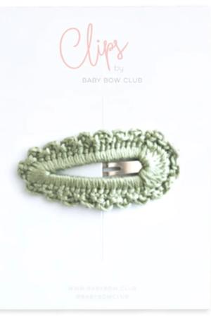 BABY BOW CLUB Crochet Clip // sage