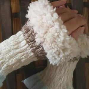 ファー付き カシミヤ手織りアームウォーマー  ミニタイプ F35