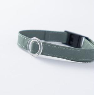 【猫にやさしい布首輪】アッシュグリーン 軽量3g やわらか 安全 シンプル ペットシッター考案