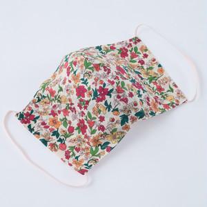 【2枚セット】【日本製】何度も洗って使える  立体布マスク  花柄 2色 レッド グリーン