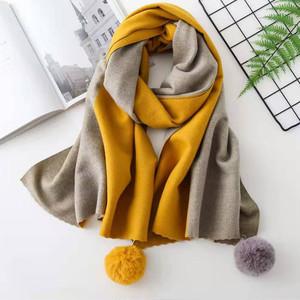 【小物】配色プレゼント毛玉飾り厚くてスカーフ 24225337
