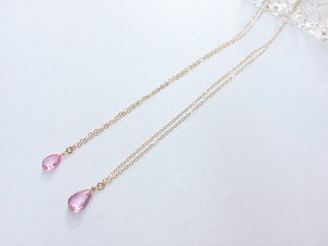14kgf pink topaz necklace