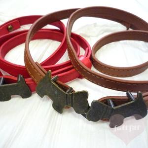 レザー細ベルト テリア型バックル ブラウン レッド