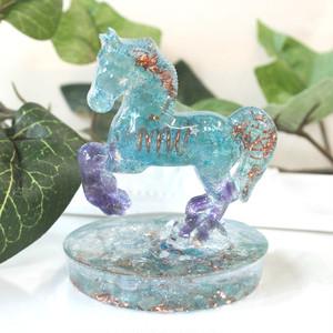 馬型 アパタイト&アメジストオルゴナイト 置物 財運をもたらす馬モチーフ