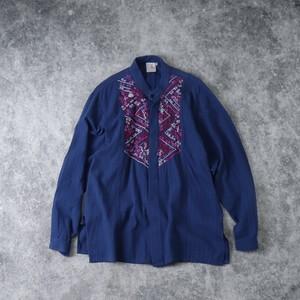 レディース MEXICO製 刺繍シャツ ハンドメイド アメリカ古着 コットン ブルー  L