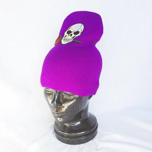 スカル 骸骨 ガイコツ 髑髏 ドクロ ニットキャップ ワッチキャップ ニット帽 パープル 紫 1224