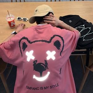 【トップス】男女兼用半袖プリントキュート反射タイプヒップホップストリート系Tシャツ45701582