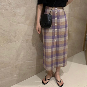 【送無】*予*Linen Frontbutton Checked Skirt リネン 麻 チェック スカート フロントボタン 大人カジュアル プチプラ 送料無料