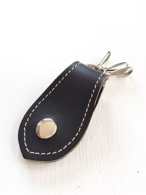 炭黒な カッコイイ 本革 レザー キーホルダー