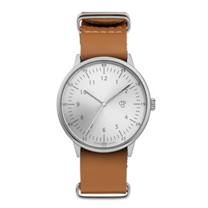 HAROLD Silver【CHPO】 Silver metal dial. Brown leather strap