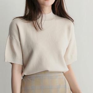 オークル系のお肌をさらに美しく魅せるベージュホワイト☆サマーカットソー 半袖 ニットソー パフスリーブ