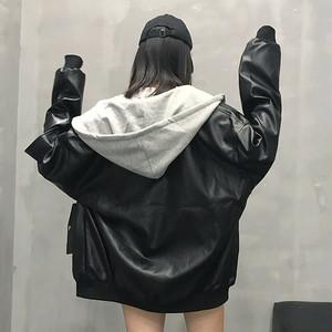 【アウター】ストリート長袖無地学園風フード付きジッパーコート25968390