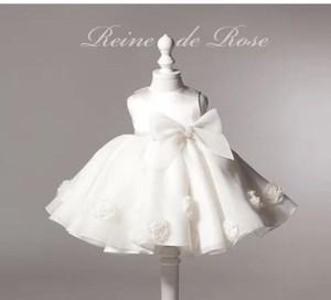 【送料無料/即納】ホワイト ふんわり パール&リボン付き ドレス