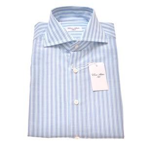 Cesare Attolini ドレスシャツ コットンリネン ブルーマルチロンドン 39