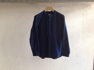 "Women's niuhans""Band Collar Selvege Denim L/S Shirt Ligh Dark Indigo"""