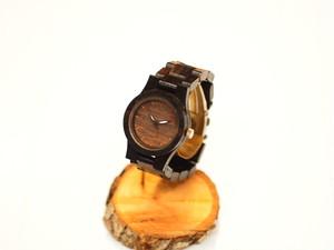 銘木黒檀の木製腕時計