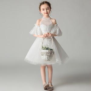 8421子供ドレス キッズドレス チュールドレス ジュニア 女の子ドレス フォーマルドレス  発表会 コンクール ピアノ 演出服 白色ホワイト 100-160cm