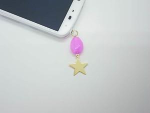 天然石&星 パープル イヤホンジャック(変更可)