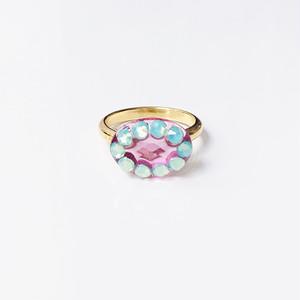 Dot Frame Ring -pink emerald-