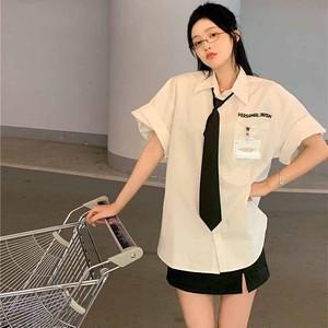 【トップス】韓国系半袖シングルブレストPOLOネックシャツ47249344