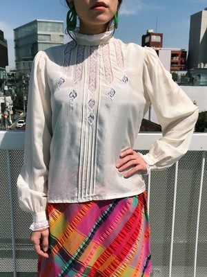 Vintage white × lace silk blouse ( ヴィンテージ ホワイト レース シルク ブラウス ー