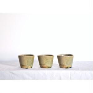 うつわ屋まる【 そば猪口 - 緑灰 half -】hand made / 笠間焼 / japan /猪口 / ぐい呑み / フリーカップ