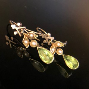 Peridot & Seed Pearl Earrings