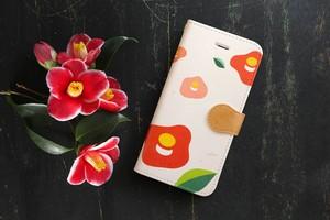 【送料無料】初化粧 〜椿(大柄)〜 iPhone&Android手帳型ケース ★受注制作★