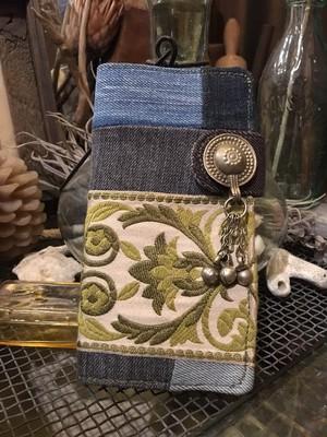 vintage ribbon × denim patchwork iPhoneXS Max case