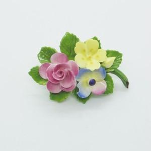 ピンク、黄色、ブルーのお花のブローチ(大)