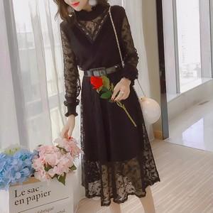 【ワンピース】絶対流行ファッション知的シンプルレースプリント・花柄ワンピース25615358
