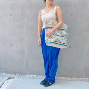 フリンジトートバッグ ブルー&ホワイト
