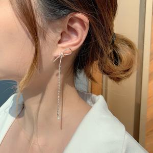 asymmetry ribbon pierce silver/rose gold p008