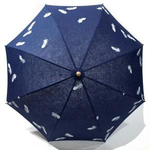 hane ふわふわ刺繍日傘 ブルー×白 47㎝折りたたみ