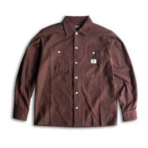PLAIN FLANNEL L/S SHIRTS - BROWN